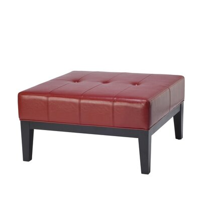 Fulton Leather Ottoman Upholstery: Red