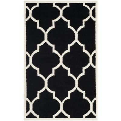 Dhurries Black/Ivory Area Rug Rug Size: 4' x 6'