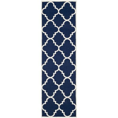 Dhurries Hand-Woven Wool Navy/Ivory Area Rug Rug Size: Runner 26 x 10