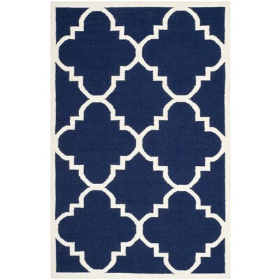 Dhurries Hand-Woven Wool Navy/Ivory Area Rug Rug Size: Rectangle 8 x 10