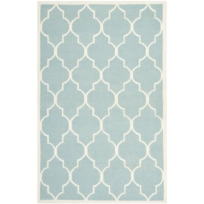 Dhurries Hand-Woven Wool Light Blue/Ivory Area Rug Rug Size: Rectangle 9 x 12