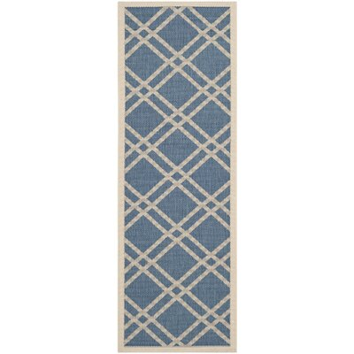 Jefferson Place Blue/Beige Outdoor Area Rug Rug Size: Runner 23 x 10