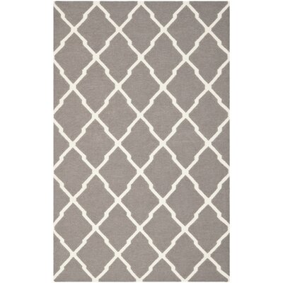 Dhurries Dark Grey/Ivory Area Rug Rug Size: 10 x 14
