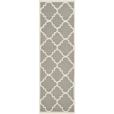Dhurries Hand-Woven Wool Gray/Ivory Area Rug Rug Size: Runner 26 x 10