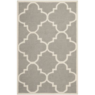 Dhurries Grey/Ivory Area Rug Rug Size: 8 x 10