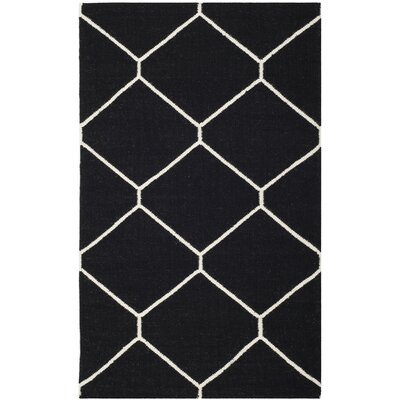 Dhurries Black/Ivory Area Rug Rug Size: 4 x 6
