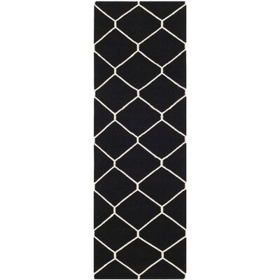 Dhurries Black/Ivory Area Rug Rug Size: Rectangle 26 x 4