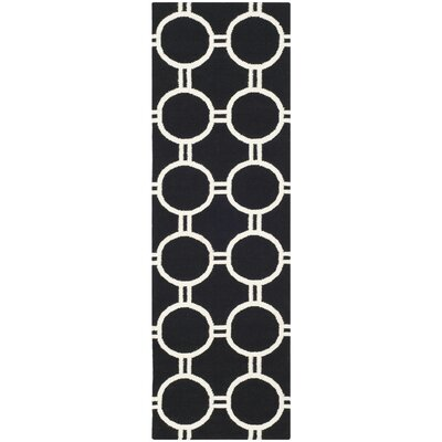 Dhurries Black/Ivory Area Rug Rug Size: 26 x 4