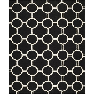 Dhurries Black/Ivory Area Rug Rug Size: 9' x 12'