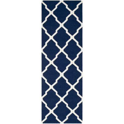 Dhurries Navy/Ivory Area Rug Rug Size: Runner 26 x 10