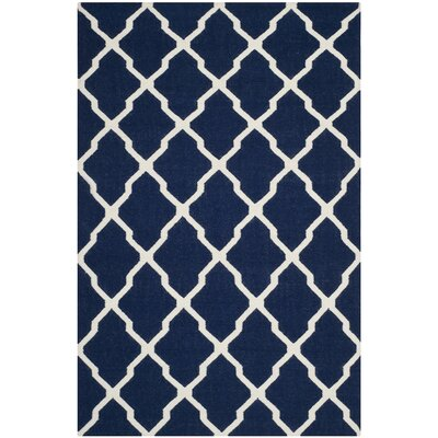 Dhurries Navy/Ivory Area Rug Rug Size: Rectangle 6' x 9'