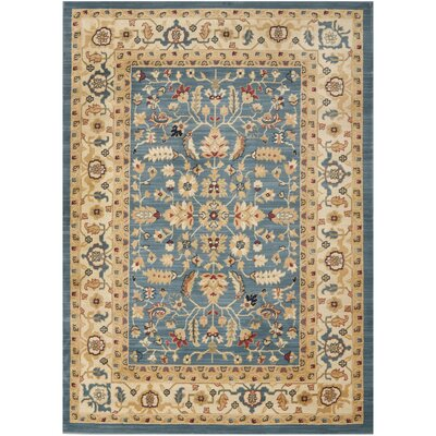 Austin Light Blue/Cream Rug Rug Size: 53 x 76