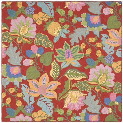 Jardin Red/Multi Rug Rug Size: Square 6
