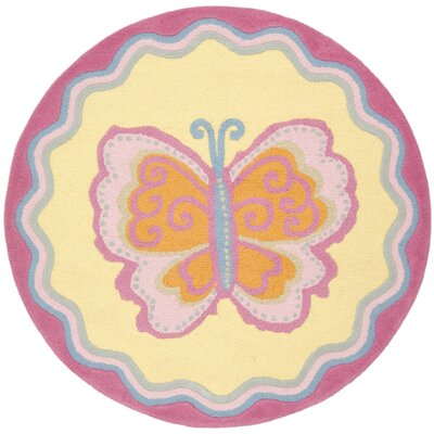 Claro Butterfly Center Area Rug Rug Size: Round 4