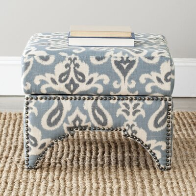 Declan Ottoman Upholstery: Blue / Grey / Off White