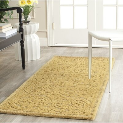 Cambridge Hand-Tufted Light Gold Area Rug Rug Size: Round 10