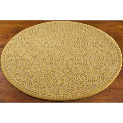 Cambridge Hand-Tufted Light Gold Area Rug Rug Size: Round 4