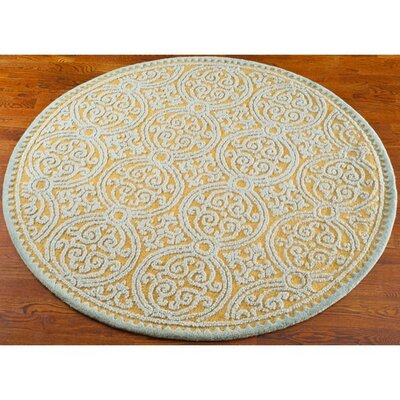 Cambridge Hand-Tufted Blue/Gold Area Rug Rug Size: Round 4