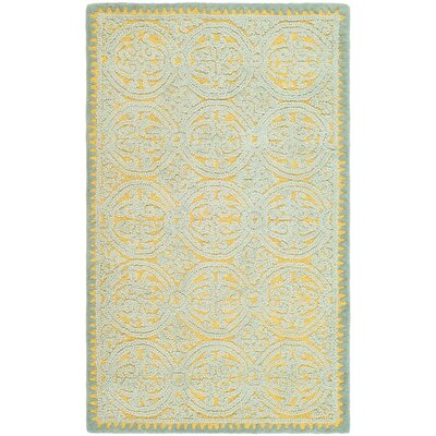 Cambridge Hand-Tufted Blue/Gold Area Rug Rug Size: 3 x 5