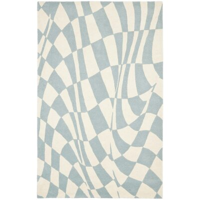 Soho Light Blue / Ivory Contemporary Rug Rug Size: 36 x 56