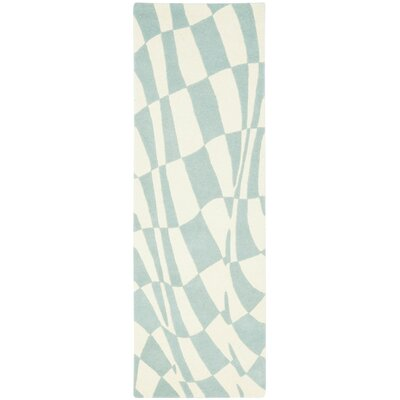 Soho Light Blue / Ivory Contemporary Rug Rug Size: Runner 26 x 8