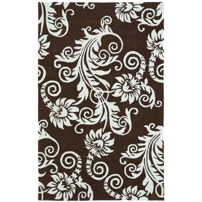 Soho Brown / Blue Contemporary Rug Rug Size: 36 x 56