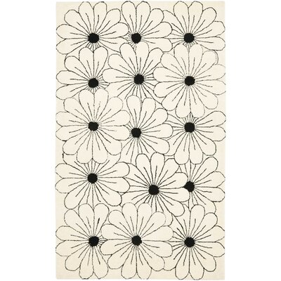 Soho Ivory / Black Contemporary Rug Rug Size: 36 x 56