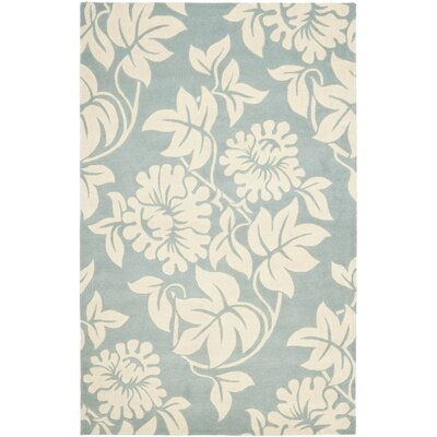 Soho Blue / Ivory Contemporary Rug Rug Size: 36 x 56