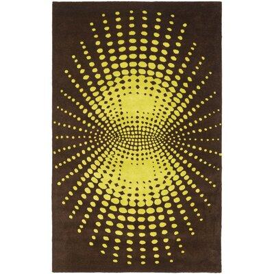 Soho Brown / Dark Green Contemporary Rug Rug Size: Rectangle 36 x 56