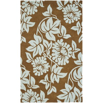 Soho Light Brown / Blue Contemporary Rug Rug Size: 76 x 96