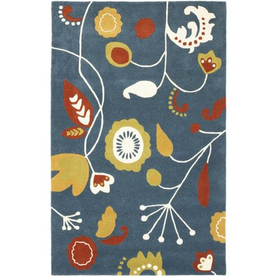 Soho Dark Blue / Multi Contemporary Rug Rug Size: 76 x 96