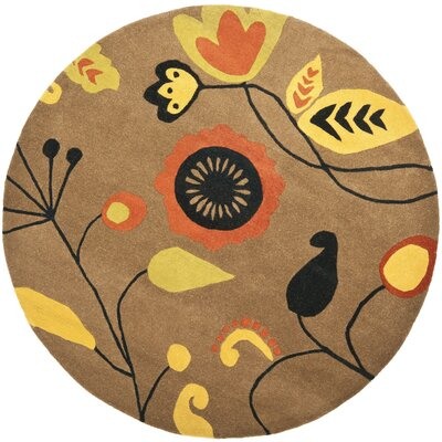 Soho Light Brown / Light Multi Contemporary Rug Rug Size: Round 6