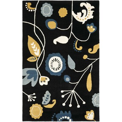 Soho Dark Black / Multi Contemporary Rug Rug Size: 36 x 56