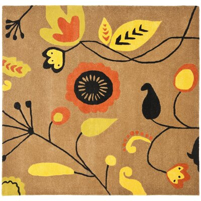 Soho Light Brown / Light Multi Contemporary Rug Rug Size: Square 6