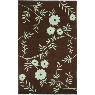 Soho Brown / Teal Contemporary Rug Rug Size: 76 x 96