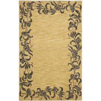 Soho Gold / Black Contemporary Rug Rug Size: 36 x 56