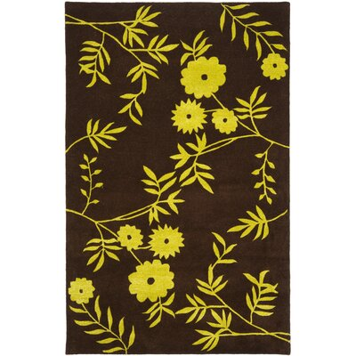 Soho Brown / Green Contemporary Rug Rug Size: Rectangle 36 x 56