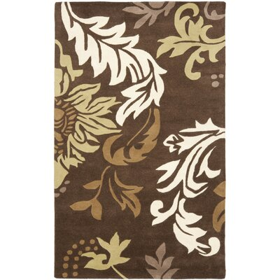 Soho Dark Brown / Light Multi Contemporary Rug Rug Size: 36 x 56