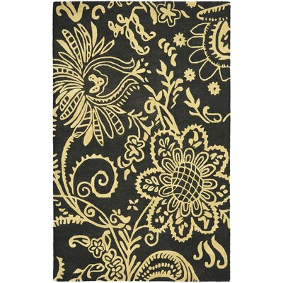 Soho Black / Green Contemporary Rug Rug Size: Rectangle 76 x 96