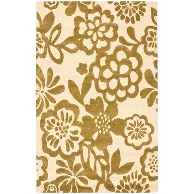 Soho Beige / Green Contemporary Rug Rug Size: 36 x 56