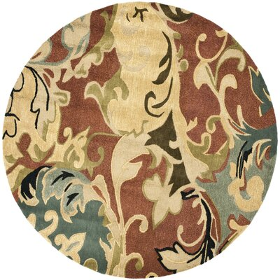 Soho Rust / Multi Contemporary Rug Rug Size: Round 6