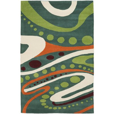 Soho Teal / Multi Contemporary Rug Rug Size: 36 x 56