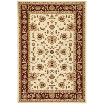 Majesty Creme/Red Area Rug Rug Size: Rectangle 53 x 76