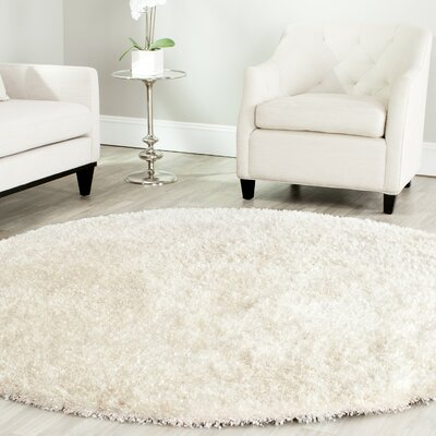 Malibu Hand-Tufted White Area Rug Rug Size: Round 7