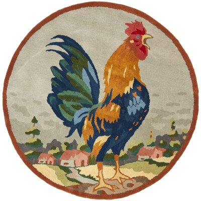 Rooster on The Hill Area Rug Rug Size: Round 4'
