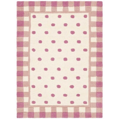 Novelty Ivory/Pink Outdoor Area Rug Rug Size: 2 x 3