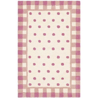 Novelty Hand-Woven Wool Ivory/Pink Area Rug Rug Size: Rectangle 26 x 4