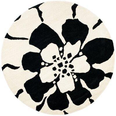 Soho Black/White Area Rug Rug Size: Round 6'