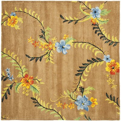 Soho Brown Floral Area Rug Rug Size: Square 6