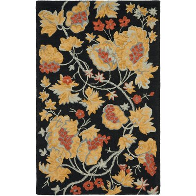 Blossom Wool Black / Multi Contemporary Rug Rug Size: Rectangle 4 x 6